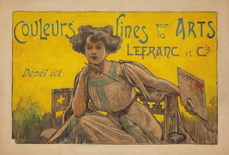 Eugène-Charles-Paul Vavasseur (1863-1949), projet de panneau publicitaire et de couverture de catalogue représentant une femme à la palette, vers 1900-1905, fusain et détrempe sur papier, morceaux de papier rapportés et collés pour le lettrage